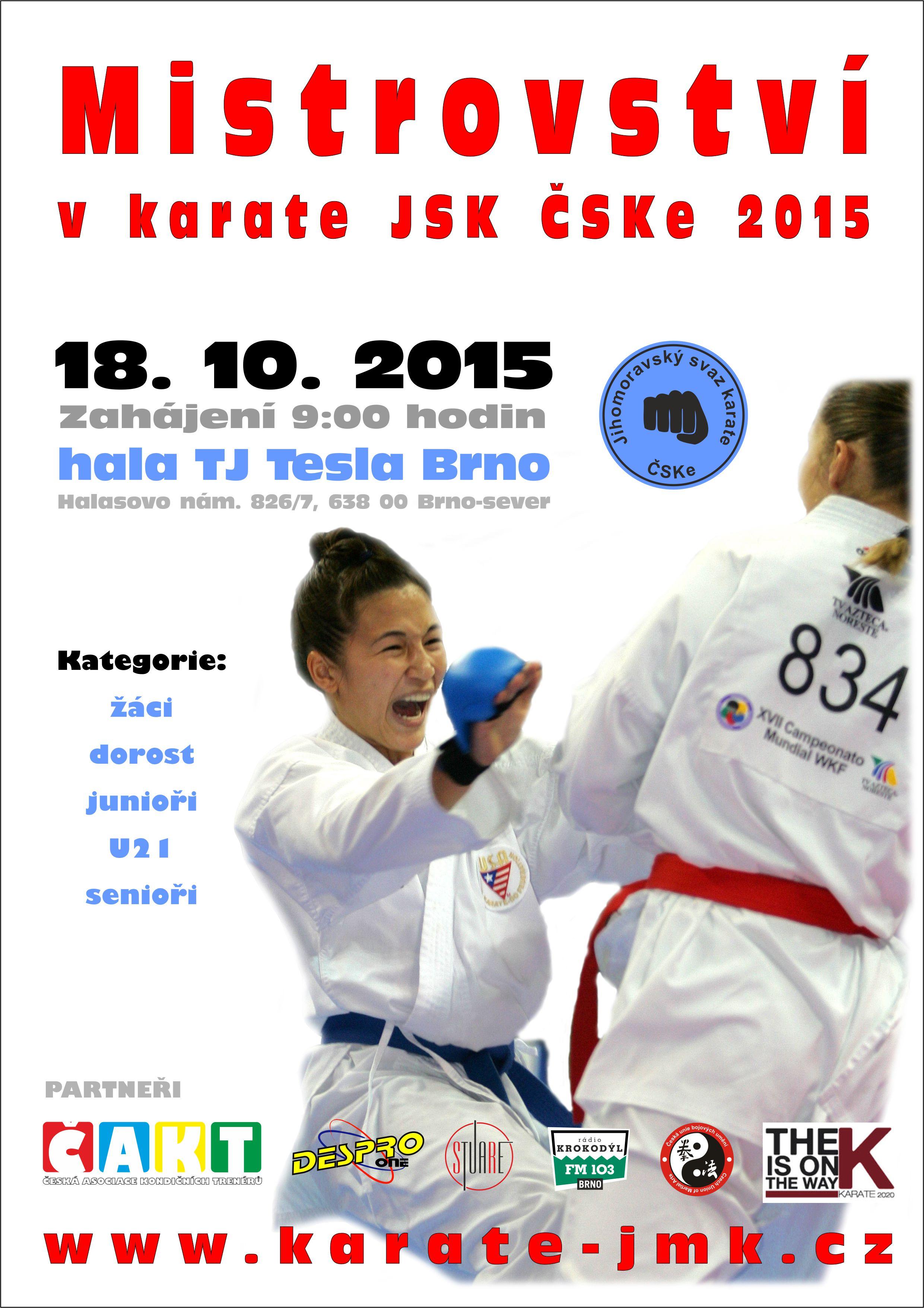 Plakát v Mistrovství JMK v karate JSK ČSKe 2015- oprava